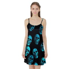 Skulls Blue Satin Night Slip
