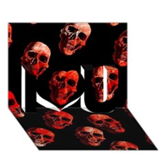 Skulls Red I Love You 3D Greeting Card (7x5)