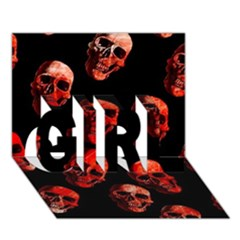 Skulls Red Girl 3d Greeting Card (7x5)