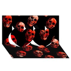 Skulls Red Twin Hearts 3d Greeting Card (8x4)