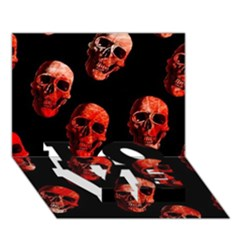 Skulls Red LOVE Bottom 3D Greeting Card (7x5)