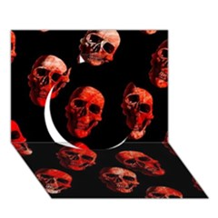 Skulls Red Circle 3d Greeting Card (7x5)