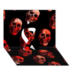 Skulls Red Ribbon 3D Greeting Card (7x5)