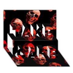 Skulls Red Take Care 3d Greeting Card (7x5)