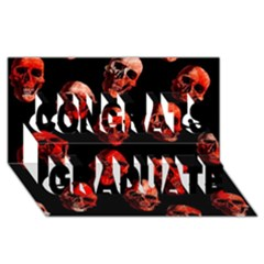 Skulls Red Congrats Graduate 3D Greeting Card (8x4)