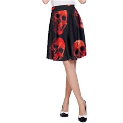 Skulls Red A-Line Skirts
