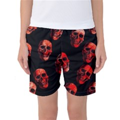Skulls Red Women s Basketball Shorts