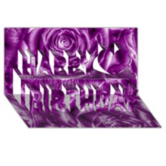 Gorgeous Roses,purple  Happy Birthday 3D Greeting Card (8x4)