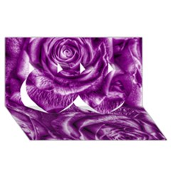 Gorgeous Roses,purple  Twin Hearts 3D Greeting Card (8x4)