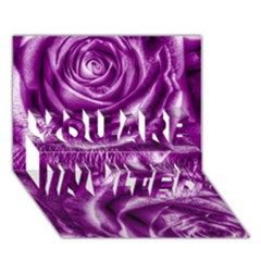Gorgeous Roses,purple  You Are Invited 3d Greeting Card (7x5)