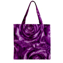 Gorgeous Roses,purple  Zipper Grocery Tote Bags