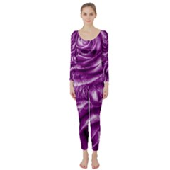 Gorgeous Roses,purple  Long Sleeve Catsuit