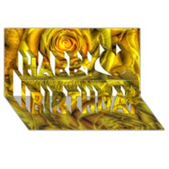 Gorgeous Roses, Yellow  Happy Birthday 3D Greeting Card (8x4)