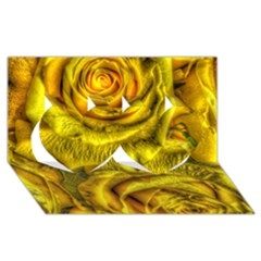 Gorgeous Roses, Yellow  Twin Hearts 3D Greeting Card (8x4)