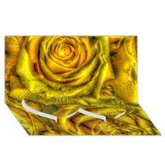 Gorgeous Roses, Yellow  Twin Heart Bottom 3D Greeting Card (8x4)