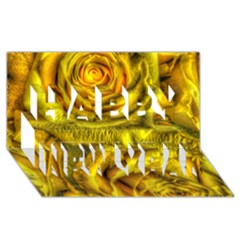 Gorgeous Roses, Yellow  Happy New Year 3D Greeting Card (8x4)
