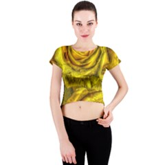 Gorgeous Roses, Yellow  Crew Neck Crop Top