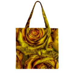 Gorgeous Roses, Yellow  Zipper Grocery Tote Bags