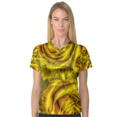 Gorgeous Roses, Yellow  Women s V-Neck Sport Mesh Tee