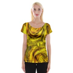 Gorgeous Roses, Yellow  Women s Cap Sleeve Top