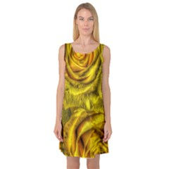 Gorgeous Roses, Yellow  Sleeveless Satin Nightdresses