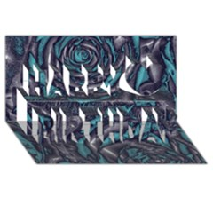 Gorgeous Roses, Aqua Happy Birthday 3D Greeting Card (8x4)