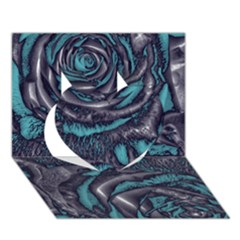 Gorgeous Roses, Aqua Heart 3D Greeting Card (7x5)