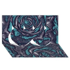 Gorgeous Roses, Aqua Twin Hearts 3D Greeting Card (8x4)