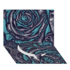 Gorgeous Roses, Aqua Circle Bottom 3D Greeting Card (7x5)