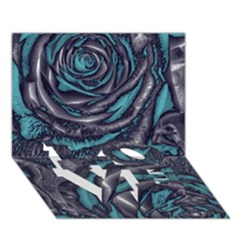 Gorgeous Roses, Aqua LOVE Bottom 3D Greeting Card (7x5)