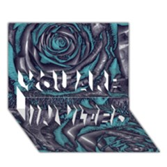 Gorgeous Roses, Aqua YOU ARE INVITED 3D Greeting Card (7x5)