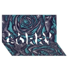 Gorgeous Roses, Aqua SORRY 3D Greeting Card (8x4)