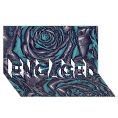 Gorgeous Roses, Aqua ENGAGED 3D Greeting Card (8x4)