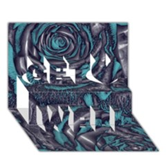 Gorgeous Roses, Aqua Get Well 3D Greeting Card (7x5)