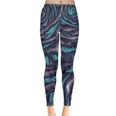 Gorgeous Roses, Aqua Women s Leggings