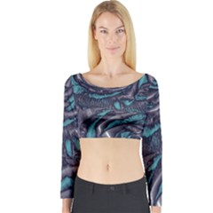 Gorgeous Roses, Aqua Long Sleeve Crop Top