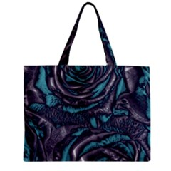 Gorgeous Roses, Aqua Zipper Tiny Tote Bags