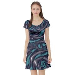 Gorgeous Roses, Aqua Short Sleeve Skater Dresses