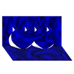 Gorgeous Roses,deep Blue Twin Hearts 3d Greeting Card (8x4)