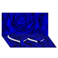 Gorgeous Roses,deep Blue Twin Heart Bottom 3D Greeting Card (8x4)