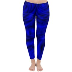 Gorgeous Roses,deep Blue Winter Leggings