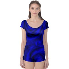 Gorgeous Roses,deep Blue Short Sleeve Leotard