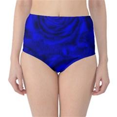 Gorgeous Roses,deep Blue High-Waist Bikini Bottoms