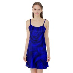 Gorgeous Roses,deep Blue Satin Night Slip