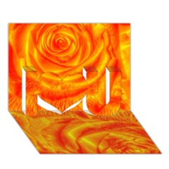 Gorgeous Roses, Orange I Love You 3D Greeting Card (7x5)