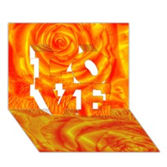Gorgeous Roses, Orange LOVE 3D Greeting Card (7x5)
