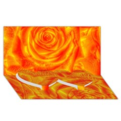 Gorgeous Roses, Orange Twin Heart Bottom 3D Greeting Card (8x4)