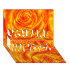 Gorgeous Roses, Orange YOU ARE INVITED 3D Greeting Card (7x5)