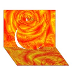 Gorgeous Roses, Orange Circle 3D Greeting Card (7x5)