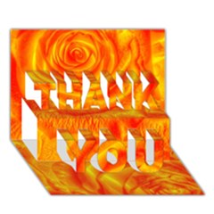 Gorgeous Roses, Orange Thank You 3d Greeting Card (7x5)